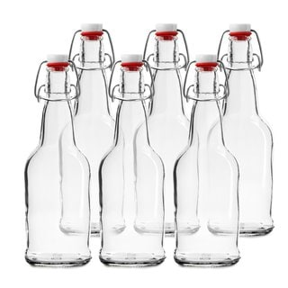 Chef's Star Clear Glass 16-ounce Easy Cap Beer Bottles (Case of 6)