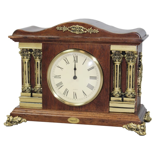 Uniquewise Traditional Desktop Clock with Brown Wood Case