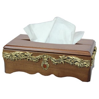 Solid Wood with Gold Accent Tissue Box Holder