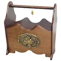 Uniquewise Classic Wood Magazine Rack with Gold Plaque and Walnut Finish
