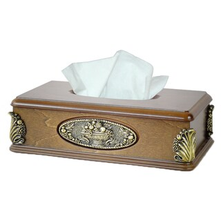 Classic Wood with Gold Plaque Tissue Box Holder