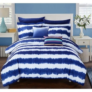 Lucas Navy Tie-dye 9-Piece Microfiber Bed in a Bag with Sheet Set