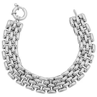 Argento Italia Sterling Silver 15-mm Panther Link Bracelet (8 inches)