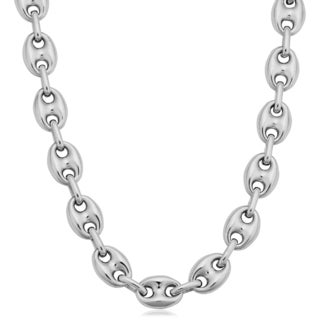 Argento Italia Sterling Silver Unisex 7.5-mm Puffed Mariner Link Necklace (18 inches)