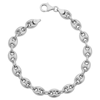 Argento Italia Sterling Silver Unisex 7.5-mm Puffed Mariner Link Bracelet (8 inches)