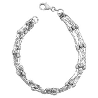 Argento Italia Sterling Silver Six Strands Of Oval Bead Station Bracelet (7.5 inches)