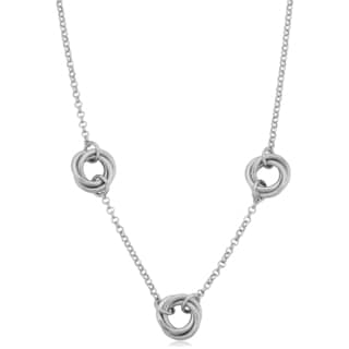 Argento Italia Sterling Silver Open Love Knot Adjustable Length Station Necklace (18 inches)