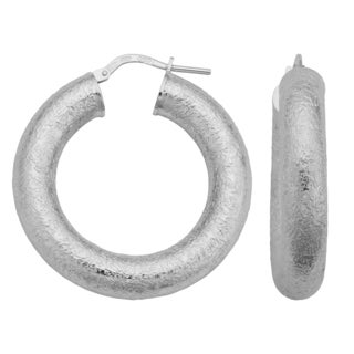 Argento Italia Sterling Silver 6x32-mm Textured Round Hoop Earrings