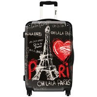 iKase ' Eiffel Tower Love Paris 2' ,Check-in 24-inch .Hardside Spinner Luggage