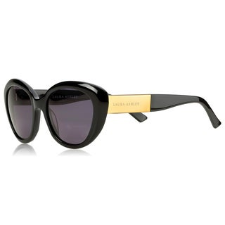 Laura Ashley Ladies Black Cat Eye Sunglasses With Matt Gold Temples