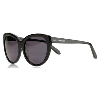 Laura Ashley Women's Black Acetate Classic Polarized Cat-eye Sunglasses