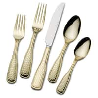 St. James 24k Gold-Plated Country Hammered Flatware 45-Piece Set