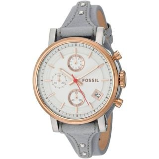 Fossil Women's ES4045 'Original Boyfriend' Chronograph Grey Leather Watch