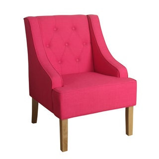 HomePop Kate Tufted Swoop Arm Accent Chair Raspberry Sorbet