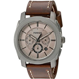 Fossil Men's FS5215 'Machine' Chronograph Brown Leather Watch