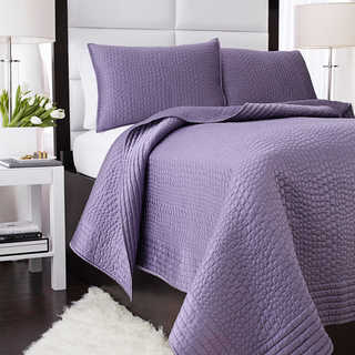 Vince Camuto Solid Purple Crocodile Quilted Coverlet