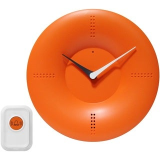 Infinity Instruments 10-inch Orange Modern Wall/ Tabletop Clock with Remote Controlled Chime