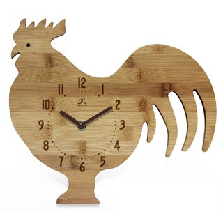 Infinity Instruments Chef Collection Beige Bamboo Rooster Wall Clock