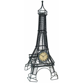 Infinity Instruments Black Steel 17-inch Eiffel Tower Tabletop Clock