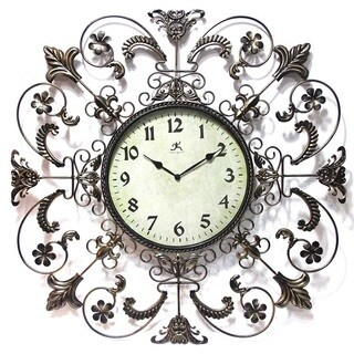 Infinity Instruments Glass/Steel 26-inch Fleur de Lis Wall Clock