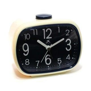 Infinity Instruments Retro Blue 3.75-inch High Tabletop Alarm Clock
