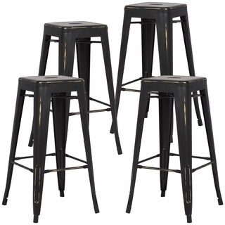 Edgemod Trattoria 30-inch Bar Stool in Distressed Finish (Set of 4)