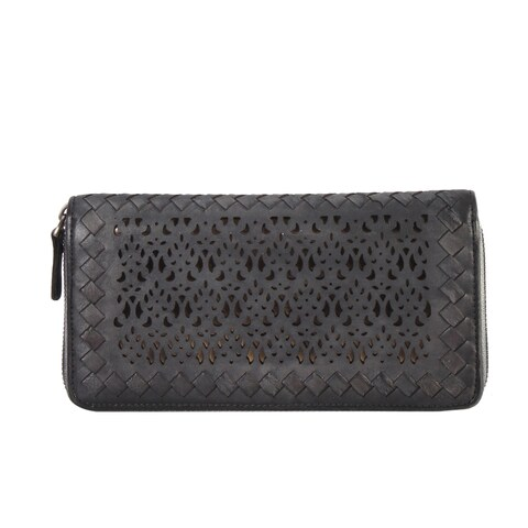 Diophy Luxury Distressed Vintage Genuine Leather Sequins Woven Wallet