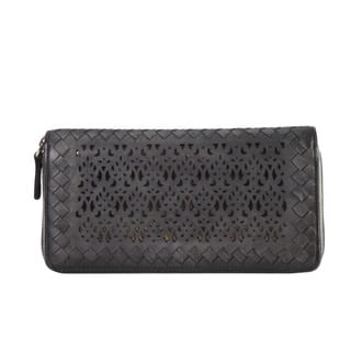 Diophy Luxury Distressed Vintage Genuine Leather Sequins Woven Wallet|https://ak1.ostkcdn.com/images/products/12248850/P19090856.jpg?impolicy=medium