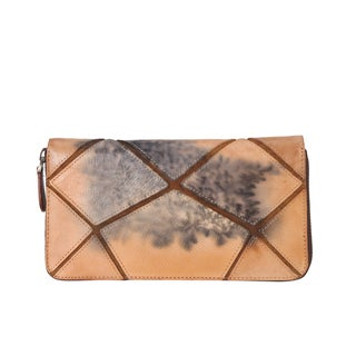Diophy 8224 Graffiti Crack Design Distressed Genuine Leather Wallet
