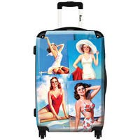 iKase '4 Pin-ups At The Beach' ,Check-in 24-inch .Hardside Spinner Luggage