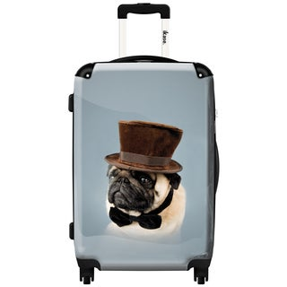 iKase 'Dog with Hat' Check-in 24-inch,Hardside Spinner Suitcase