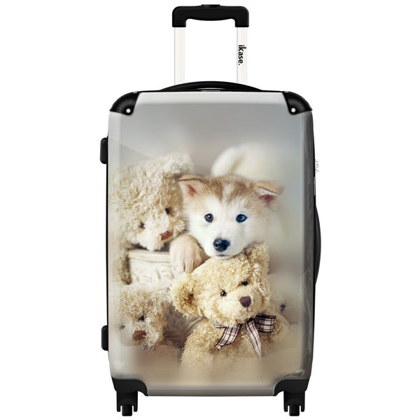 iKase 'Sweeties White Dogs' Check-in 24-inch,Hardside Spinner Suitcase