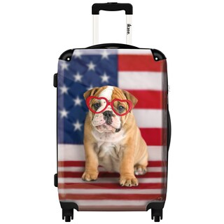 iKase 'American Dog Flag' Check-in 24-inch,Hardside Spinner Suitcase