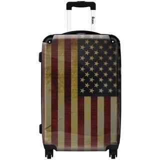 iKase 'American Vintage Flag' ,Check-in 24-inch .Hardside Spinner Luggage