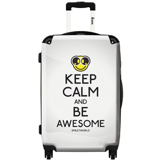 iKase 'Smiley, Keep Calm and Be Awsome' 24-inch Fashion Hardside Spinner Suitcase