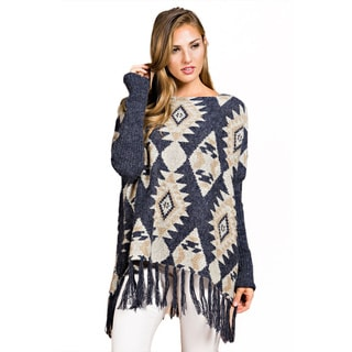 Spicy Mix Women's Tribal-print Long-sleeved Sweater Poncho