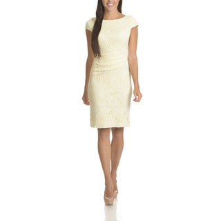 Sharagano Women's Floral Lace Ruched Sheath Dress