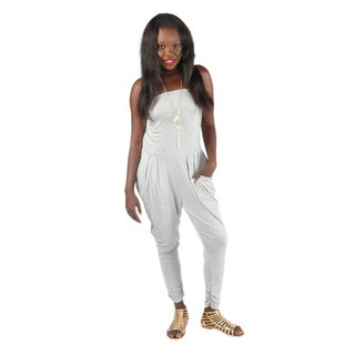 Hadari Womens Slimfit Gray Straight Across Neckline Pegged Bottom Jumpsuit With Side Front Pockets