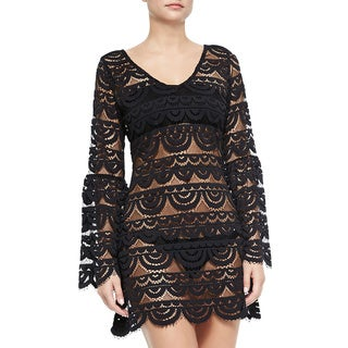 PilyQ Riley Royal Black Scalopped Mesh Cover-up