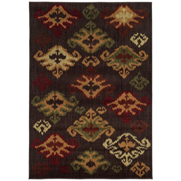 "Tribal Brown/Multicolored Polypropylene Ikat Rug (7'10 x 10') - 7'10"" x 10'"