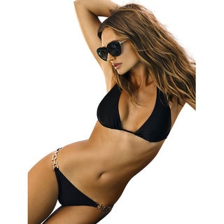 PilyQ Black Teeny Bikini Bottom with Gold Chain Accents