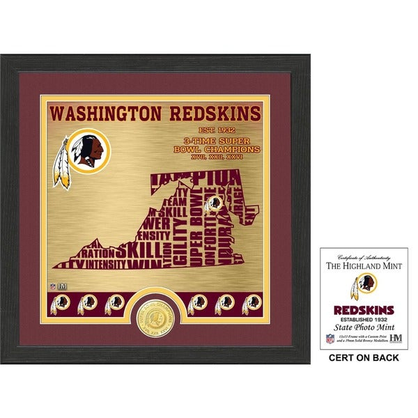 "Washington Redskins ""State"" Bronze Coin Photo Mint"