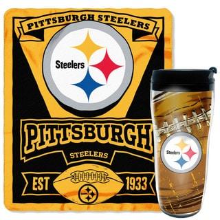 NFL Steelers Mug N' Snug 50-inches x 60-inches Fleece Throw and 16-ounces Tumbler Set