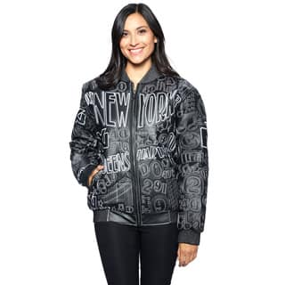 Wilda Leather Women's New York Black Embroidered Leather Jacket (Option: Xl)|https://ak1.ostkcdn.com/images/products/12249827/P19091717.jpg?impolicy=medium
