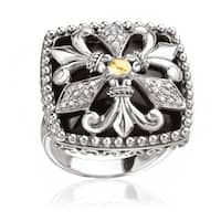 Avanti Sterling Silver and 18K Yellow Gold Black Onyx and 1/8 Ct TDW Diamond Square Ring (I-J, I1-I2)