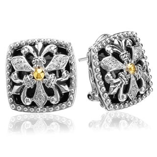 Avanti Sterling Silver and 18k Yellow Gold Black Onyx and 1/8 Ct TDW Diamond Square Button Earrings (I-J, I1-I2)
