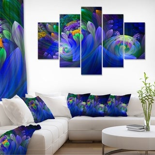 Blue Fractal Flower Bouquet - Floral Large Abstract Art Canvas Print