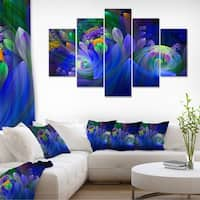 Blue Fractal Flower Bouquet Floral Large Abstract Art Canvas Print