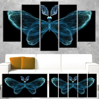 Turquoise Fractal Butterfly in Dark - Large Abstract Art Canvas Print