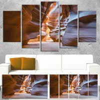 Antelope Canyon Glow Inside - Landscape Photo Canvas Print - Brown